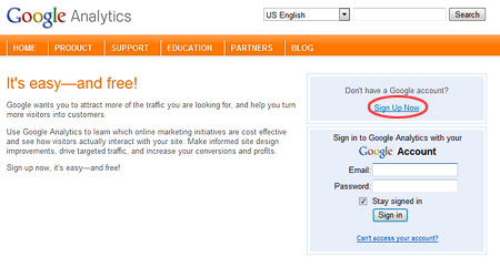 The Google Analytics sign-up page
